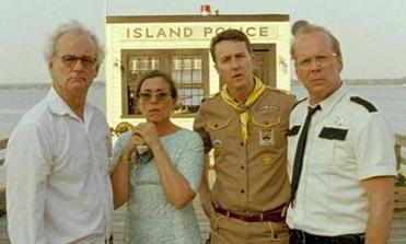 "From left: Bill Murray, Frances McDormand, Edward Norton, and Bruce Willis in Wes Anderson's ""Moonrise Kingdom."""
